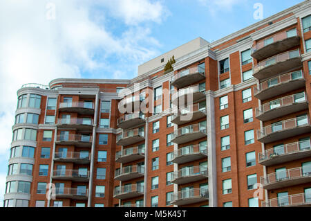 Modern condo buildings with huge windows and balconies in Montreal, Canada - Stock Photo
