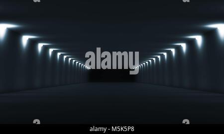 Abstract dark tunnel interior perspective with spot lights illumination. Digital 3d illustration - Stock Photo