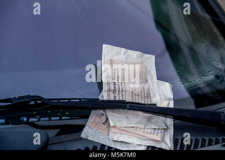 Penalty fines attached to a vehicle penalised for unpaid vehicle tax - Stock Photo