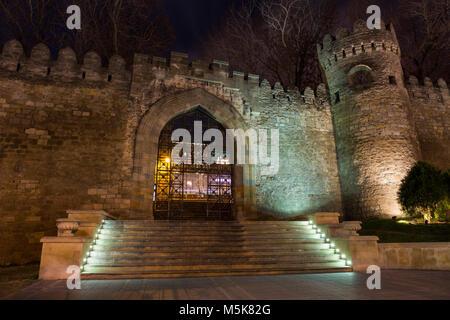 Gate of the old fortress, entrance to Baku old town. Baku, Azerbaijan. - Stock Photo