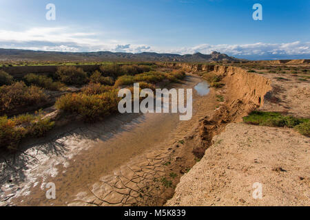 Drying river in Gobustan desert, Azerbaijan - Stock Photo