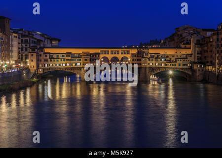 Ponte Vecchio at night (Florence) - Stock Photo