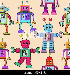 Robot seamless pattern - Stock Photo