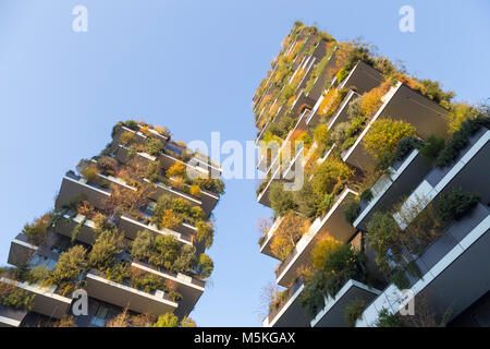 View of the Bosco Verticale skyscrapers in Porta Nuova neighborhood. Milan, Lombardy, Italy. - Stock Photo