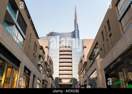 View of the Unicredit Tower spire from the Corso Como avenue. Milan, Lombardy, Italy. - Stock Photo