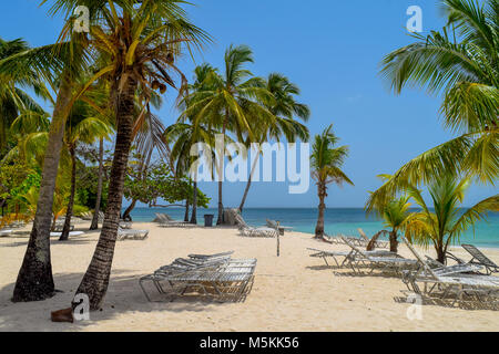 White beach with sunbeds, many palms, blue sky and turquoise ocean in the caribbean sea, Dominican Republic - Stock Photo