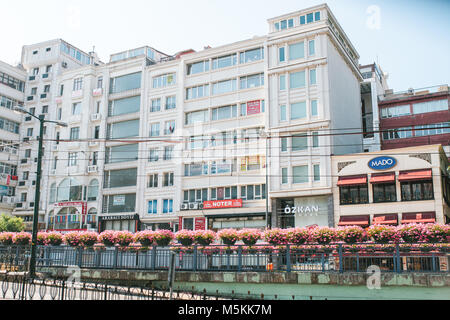 Istanbul, June 11, 2017:Editorial image of street view with buildings and commercial shops. - Stock Photo