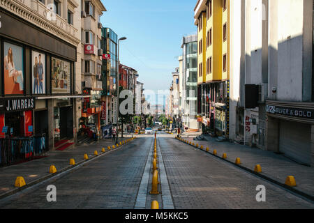 Istanbul, June 11, 2017: Editorial image of pespective view down the road on passage street with no traffic in Aksaray, - Stock Photo