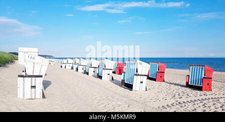 Basket chair on the beach at baltic sea, in Rostock, Germany - Stock Photo