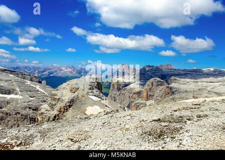 View from the summit of Sass Pordoi, Dolomites, Italy - Stock Photo