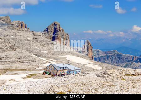 View of refuge, 'Rifugio Piz Boè' on Sass Pordoi trail, Dolomites, Italyp - Stock Photo