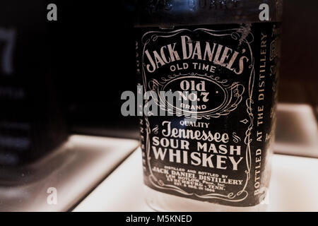 Historical whiskey label design on display at the Jack Daniels Distillery, Lynchburg, Tennessee, North America - Stock Photo