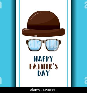 happy fathers day retro hat and glasses poster - Stock Photo