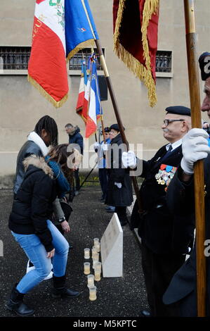 Ceremony in the memory of Auschwitz concentration camp liberation, Montluc prison, Lyon, France - Stock Photo