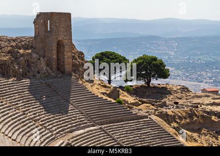 Roman amphitheatre in the ruins of the ancient city of Pergamum known also as Pergamon, Turkey - Stock Photo