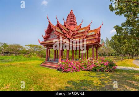 SAMUT PRAKAN, THAILAND, MARCH 2017 - Old Thai Temple in Ancient city, Samut Prakan, Bangkok - Stock Photo
