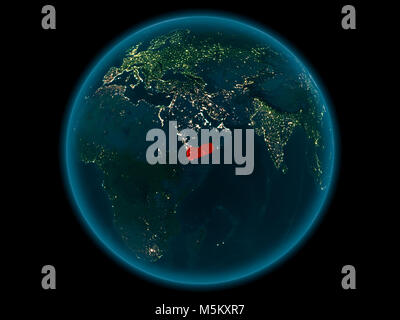 Night above Yemen highlighted in red on model of planet Earth in space. 3D illustration. Elements of this image - Stock Photo