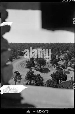 B Grand Canyon Historic- View From Desert View Watchtower  . Desert view road intersection from upper level of watchtower. - Stock Photo
