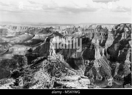 Point Imperial (historic) . VIEW SOUTHEAST ACROSS GRAND CANYON FROM POINT IMPERIAL.  WIDFROSS BUTTE (FOREGROUND) - Stock Photo