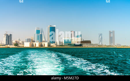 Skyline of Manama from the Persian Gulf. The Kingdom of Bahrain - Stock Photo