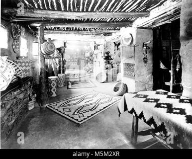 Grand Canyon Historic Hopi House Interior c  . Ground floor sales room in hopi house. Display of baskets and navajo - Stock Photo