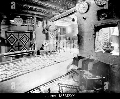 Grand Canyon Historic Hopi House Interior c  . Mary colter interior decoration in hopi house. Pot in window. Rug - Stock Photo