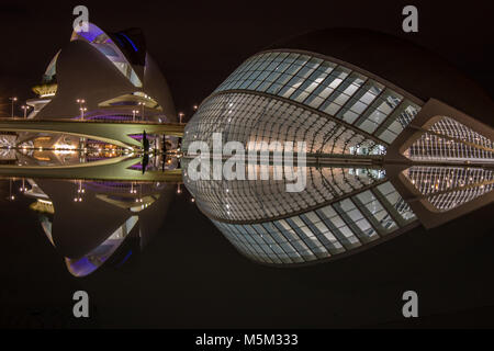 Night lights of City of Arts and Sciences Valencia Spain - Stock Photo