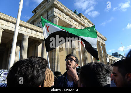 February 24th, 2018 - Berlin  Syrian refugees in Germany protest against the war at Brandenburg Gate in Berlin. - Stock Photo