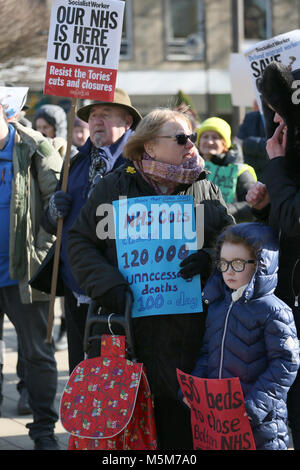 All ages attend rally to defend the NHS, Bolton, 24th February, 2018 (C)Barbara Cook/Alamy Live News - Stock Photo