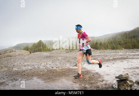 Las Palmas, Gran Canaria, Canary Islands, Spain. 24th February, 2018. Winner of the womens race, Magdalena Laczak - Stock Photo