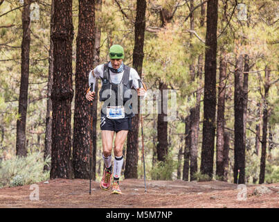Las Palmas, Gran Canaria, Canary Islands, Spain. 24th February, 2018. Some of the world`s top ultra marathon runners - Stock Photo