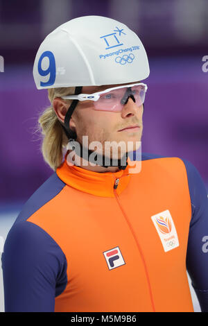 Gangneung, South Korea. 24th Feb, 2018. 3rd place finisher KOEN VERWEIJ of Netherlands after Speed Skating: Men's - Stock Photo