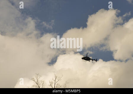 Charlotte, NC, USA. 24 Feb. 2018. Helicopters traveled the 130 mile route for the ceremonial motorcade from Asheville, - Stock Photo