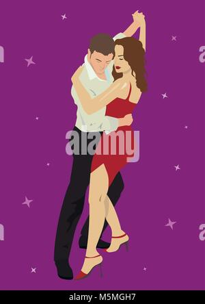 Salsa or argentine tango dancing couple man and woman in vector. International tango day - Stock Photo