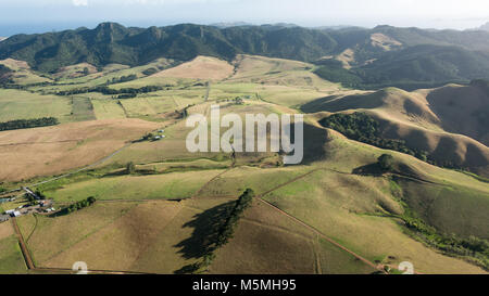 Aerial View of Landscape around Paihia, North Island, New Zealand - Stock Photo