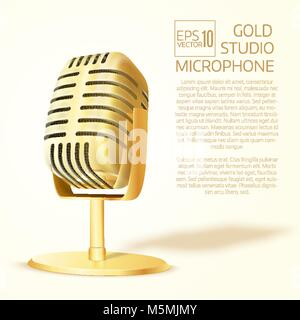 Shining  golden  studio microphone. Realistic  vector illustration - Stock Photo