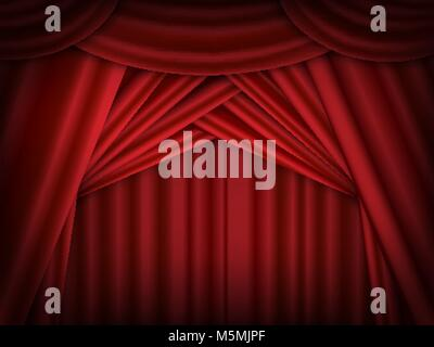 Vector red stage curtains open. Red drapes reflected. - Stock Photo