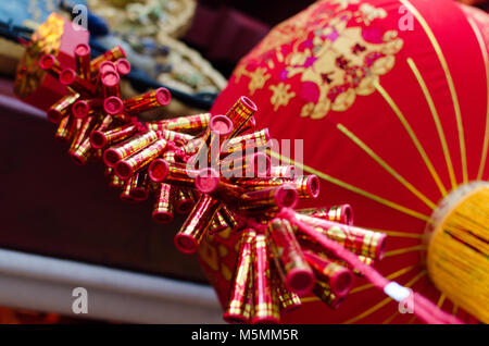 Chinese New year decoration of Firecracker and red lantern. Chinese New Year, also known as the Spring Festival - Stock Photo