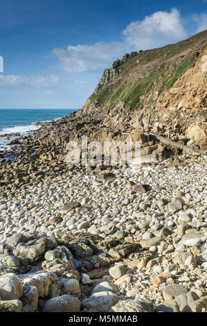 Low tide at Porth Nanven in Cornwall. - Stock Photo