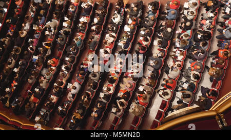 Top view of the spectators of the theater before the performance - Stock Photo