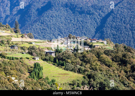 Trongsa, Bhutan.  Village near Trongsa in the Foothills of the Himalayas. - Stock Photo