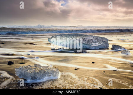 Ice blocks at Diamond beach in Iceland - Stock Photo