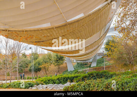 Arganzuela runway, a futuristic bridge construction over manzanares river at Madrid city, Spain - Stock Photo