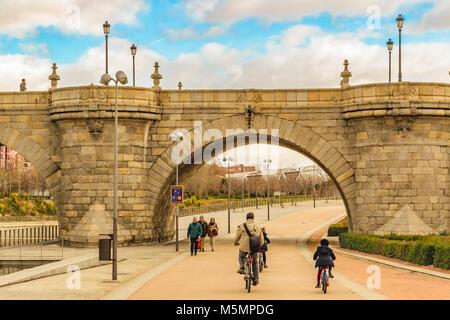 MADRID, SPAIN, DECEMBER - 2017 - Segovia bridge, a renaissance fourteenth century style construction located at - Stock Photo