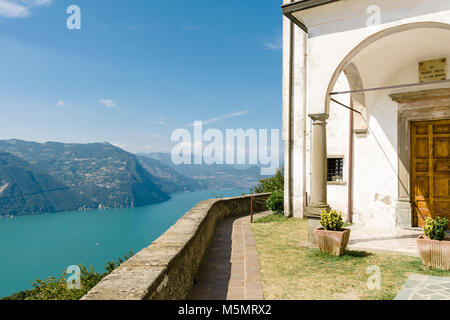 Santuario della Madonna della Ceriola, a small chapel at the top of the Island of Monte Isola overlooking Lake Iseo - Stock Photo