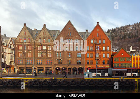 Buildings at Bryggen in downtown Bergen, west coast Norway - Stock Photo