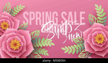spring sale banner with paper flowers and calligraphy lettering vector illustration stock photo