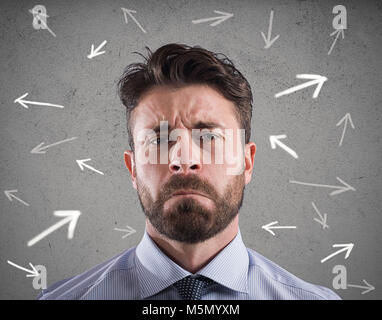 Difficult choices of a businessman. concept of confusion - Stock Photo