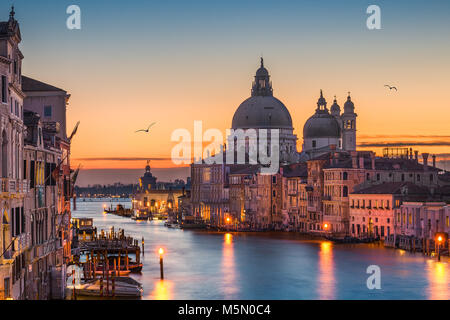 Grand Canal at night with Basilica Santa Maria della Salute, Venice, Italy - Stock Photo