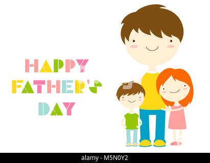 Father's day greeting card. Cute family - dad with girl and boy. Inscription Happy Father's day. EPS8 - Stock Photo